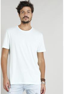 Camiseta Masculina Básica Manga Curta Gola Careca Verde Água