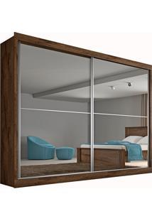 Guarda Roupa 2 Portas Com Espelho E 4 Gavetas Verona Plus– Made Marcs - Brauna