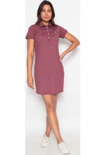 Vestido Reto Com Bordado - Vermelho Escuro & Brancoclub Polo Collection