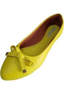 Sapatilha Com Bico Fino Feminina - Feminino-Amarelo