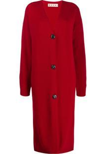 Marni Cardigan Longo Com Decote Em V - Vermelho