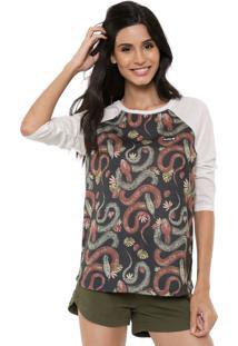 Camiseta Hurley Raglan Thread Lightly Off-White/Preto