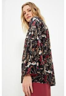 Kimono Ateen Estampa Fallais Feminina - Feminino-Preto