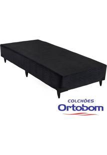 Box Solteiro - Camurça Preto - Ortobom - 88X188X23
