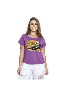 Camiseta Sideway Batman Mulher Gato - Roxa