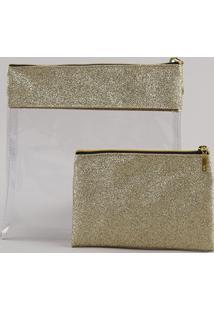Kit De 2 Nécessaires Femininas Com Glitter E Transparência Dourado