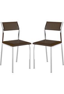 Cadeira 1709 Cromada 02 Unidades Cacau Carraro