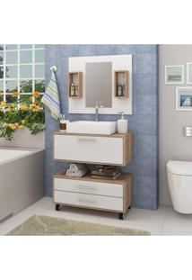 Conjunto Para Banheiro 1 Espelheira Com Nichos Gabinete Suspenso E Gaveteiro Siena Móveis