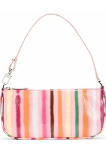 By Far Rachel Stripe-Print Shoulder Bag - Rosa