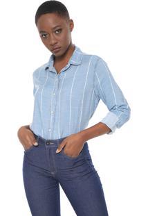 Camisa Jeans Maria Filó Listrada Azul