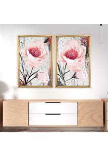 Quadro Com Moldura Chanfrada Floral Rosa Madeira Clara - Grande - Multicolorido - Dafiti