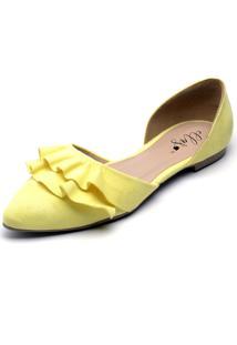 Sapatilha Bico Fino Ellas Online Babado Amarela - Amarelo - Feminino - Dafiti
