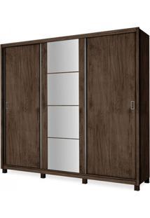 Guarda Roupa Casal Com Espelho 3 Portas De Correr New Dallas Incabrás Amendoa