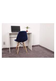 Kit Escrivaninha 90Cm Branca + 01 Cadeira Botonê Veludo - Azul Marinho