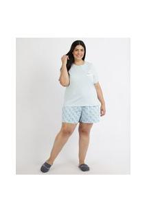 Pijama Feminino Plus Size Pantone Blusa Manga Curta Azul Claro