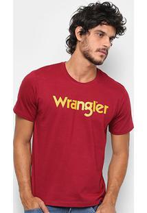 Camiseta Wrangler Manga Curta Masculina - Masculino-Vinho