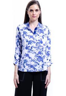 Camisa 101 Resort Wear Polo Viscose Estampada Floral Azul - Azul - Feminino - Viscose - Dafiti
