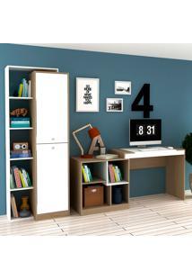 Escrivaninha E Estante Com 2 Portas Para Escritório-Ho-2966-Hecol - Avela / Branco