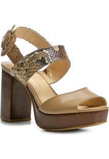Sandália Couro Shoestock Meia Pata Fivela Feminina - Feminino-Bege