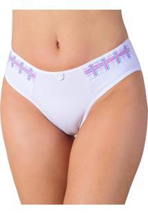 Calcinha Vip Lingerie Cotton Com Renda Estampada Branco - Kanui