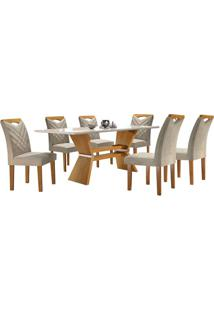 Sala De Jantar Oxford Com 6 Cadeiras Linho Bege