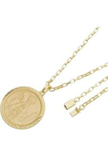 Pingente Nossa Aparecida Com Corrente Cartier Gaveta Tudo Joias Folheado A Ouro 18K - Masculino-Dourado