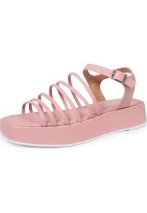 Sandália Plataforma Damannu Shoes Doris Rosa Candy