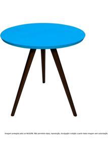 Mesa Lateral De Canto Tripé Pequena Laqueada Tabaco E Azul Turquesa