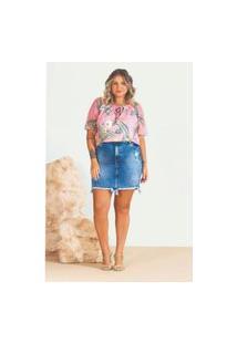 Blusa Plus Size Melinde Ciganinha Tule Rosé
