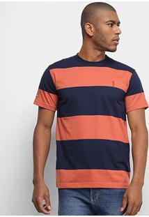 Camiseta Aleatory Fio Tinto Listras Largas Masculina - Masculino-Marinho+Laranja