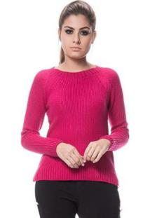 Blusa Logan Tricot Textura Clássica Ponto Arroz Feminina - Feminino-Pink