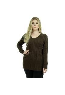 Blusa Tricot Michele Feminina Shopping Do Tricô Lã Maxipull