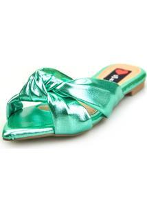 Sandalia Love Shoes Rasteira Bico Folha Nó Metalizadas Verde