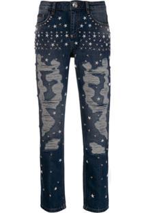 Philipp Plein Calça Jeans Com Tachas De Estrela - Azul