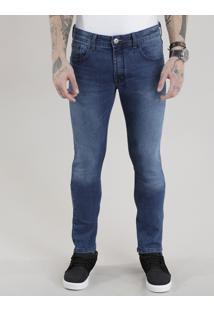 Calça Jeans Skinny Com Algodão + Sustentável Azul Médio