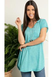 Blusa Alongada Verde Com Decote V