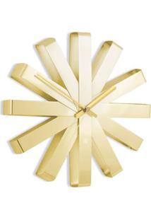 Relógio De Parede Ribbon Em Metal Dourado Umbra