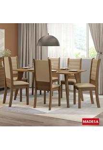 Mesa De Jantar 6 Lugares Elza Rustic/Courino Bege - Madesa