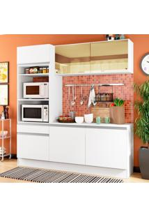 Cozinha Compacta Madesa Diamante Com Armário, Balcão E Tampo Branco
