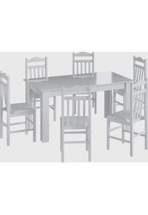 Conjunto Mesa Fixa 4 Cadeiras Branco Móveis Cançáo - Tricae