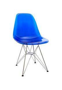 Cadeira Eiffel Design Base Cromada Assento Azul Transparente