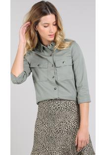 Camisa De Sarja Feminina Com Bolsos Manga Longa Verde Militar