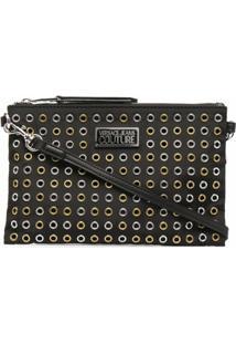 Versace Jeans Couture Eyelet-Detail Zip Clutch Bag - Preto