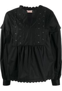 Twin-Set Blusa Com Bordado De Ilhoses - Preto