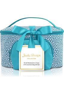 Kit Necessaire 2 Em 1 Geométrica Jacki Design Étnica Azul - Tricae