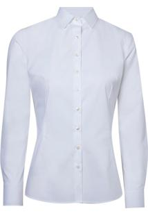Camisa Ml Fem Slim Tricoline Liso Mp (Branco, 48)