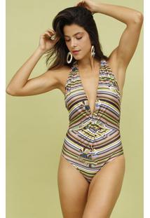 Mai㴠Frente ÚNica Listrado- Verde & Amarelo- Mos Beamos Beach Wear