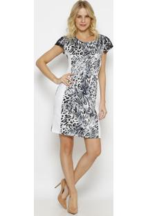 Vestido Animal Print Com Renda- Off White & Preto- Vvip Reserva