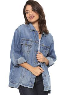 Jaqueta Jeans Colcci Assimétrica Azul