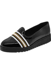Sapato Feminino Flatform Verniz/Preto Beira Rio - 4174323